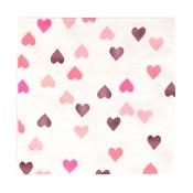 Serviettes en papier Coeur Rose Métallisé (x16)