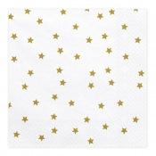 Serviettes en papier Etoile Blanc & Or (x20)