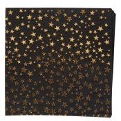 Serviettes en papier Etoile Scintillante Noir & Or (x16)
