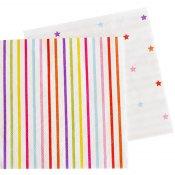 Serviettes en papier Etoiles et Rayure Multicolore (x20)