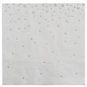 Serviettes en papier Etoiles Métallisé Argent (x16)