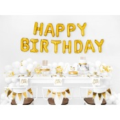 Serviettes en papier Happy Birthday Blanc & Or (x20)
