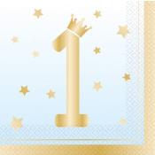 Serviettes en papier Happy Birthday Bleu (x16)