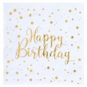 Serviettes en papier Happy Birthday Etoile Or (x20)