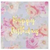 Serviettes en papier Happy Birthday Fleur Rose & Or (x16)