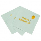 Serviettes en papier Happy Birthday Mint & Or (x16)