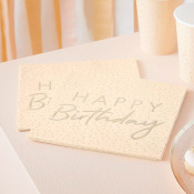 Serviettes en papier Happy Birthday Pêche & Or (x16)