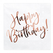 Serviettes en papier Happy Birthday Rose Gold (x20)