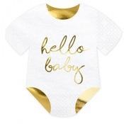 Serviettes en papier Hello Baby Blanc & Or (x20)