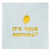 Serviettes en papier It's your Birthday Bleu & Or (x16)