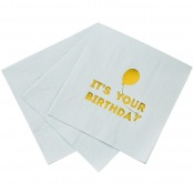 Serviettes en papier It's your Birthday Bleu & Or (x16)