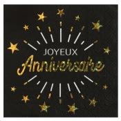Serviettes en papier Joyeux Anniversaire Noir & Or (x10)