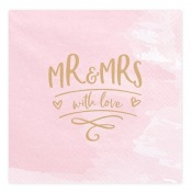 Serviettes en papier MR & Mrs Rose & Or (x20)