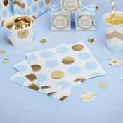 Serviettes en papier à pois bleu et or (x16)
