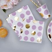 Serviettes en papier à Pois Mauve & Or (x16)