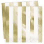 Serviettes en papier Rayure Or (x16)