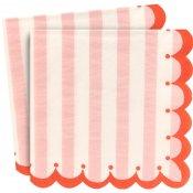 Serviettes en papier rayure rose et rouge Meri Meri (x20)