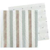 Serviettes en papier Rayures et Pois Argenté (x20)