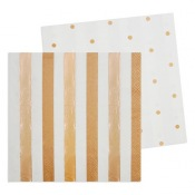 Serviettes en papier Rayures et Pois Rose Gold (x20)