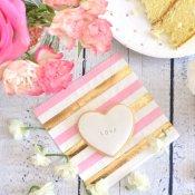 Serviettes en papier Rayures et Pois Rose & Or (x20)