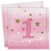 Serviettes en papier étoile rose et or (x16)