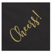 Serviettes Papier Cheers! Noir & Or (x20)