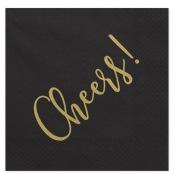 Serviettes Papier Cheers! Noir & Or (x20)