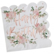 Serviettes papier Fleur Happy Birthday Rose Gold (x16)