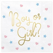 Serviettes Papier Gender Reveal Boy or Girl ? (x20)
