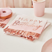 Serviettes papier Happy Birthday à Frange Rose Gold (x16)