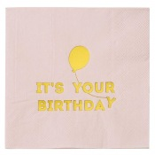 Serviettes papier It's your Birthday Rose et Or (x16)