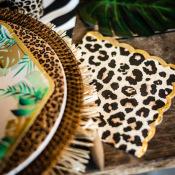 Serviettes papier Léopard, Girafe, Zèbre Or (x18)