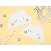 Serviettes Papier Nuage Blanc & Or (x20)