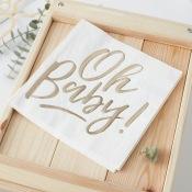 Serviettes papier Oh Baby Blanc & Or (x16)