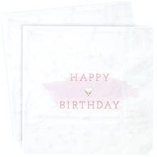 16 Serviettes en papier Happy Birthday Rose