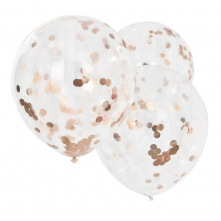 3 Grands Ballons Confettis Rose Gold 56 cm