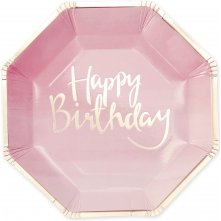 8 Assiettes en carton Happy Birthday Rose et Or
