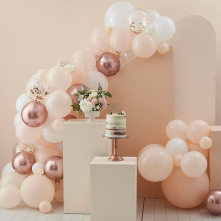 Arche de Ballons Pêches, Blanc & Rose Gold (x70)