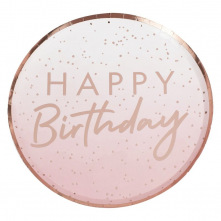 Assiettes en carton Happy Birthday Ombre Rose Gold (x4)