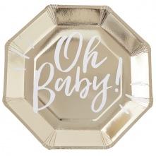 Assiettes en carton Oh Baby Or (x4)