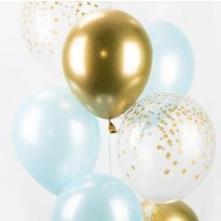 Bouquet Ballons Bleu Clair, Or et Confettis Or (x6)