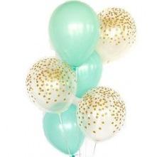 Bouquet Ballons Mint et Confettis Or (x6)