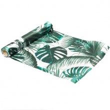 Chemin de table Vert Satin Feuillage Tropical