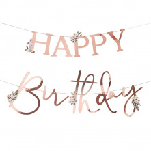 Guirlande Happy Birthday Botanique Rose Gold
