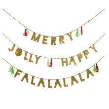 Guirlande Pailletée Or Noël Merry Jolly