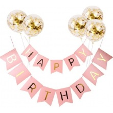 Kit Guirlande Happy Birthday (x1) + Ballons confettis Or (x5)
