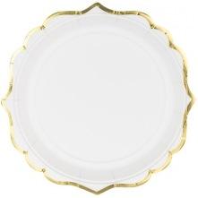 Petites Assiettes en carton Blanc & Or  (x6)