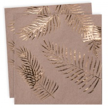 Serviettes en papier Feuillage Kraft & Or (x16)