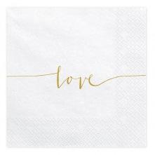 Serviettes en papier Love Blanc & Or (x20)