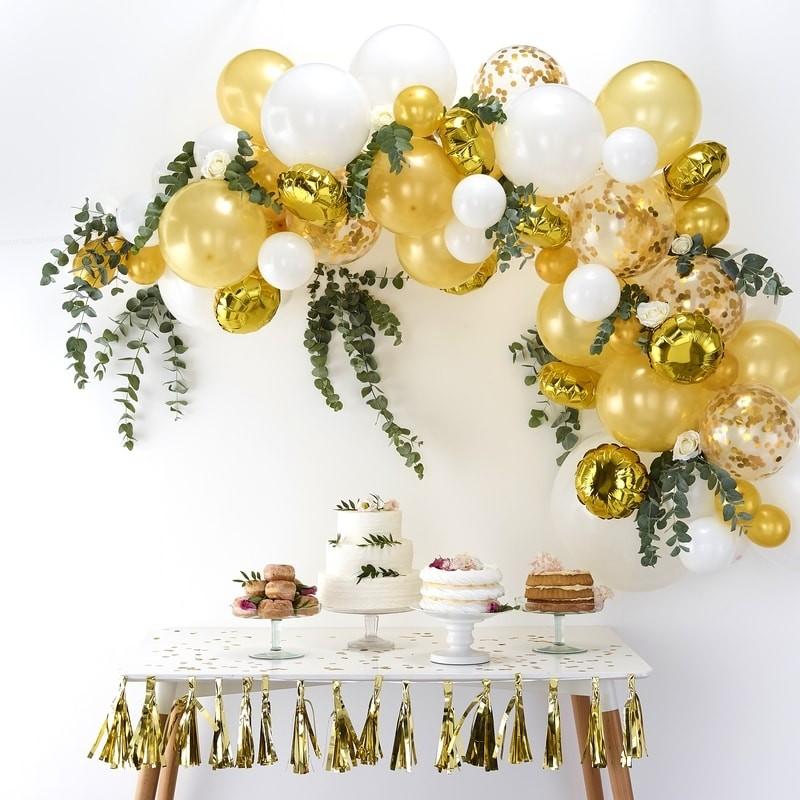 8 Ballons anniversaire or et blanc 100/% biodégradable Décoration anniversaire